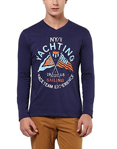 American Crew Men's V-Neck Printed Full Sleeves T-Shirt (Navy Blue)