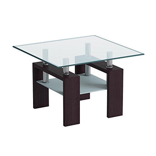 Global Furniture Clear/Frosted Occasional End Table with Dark Walnut Legs