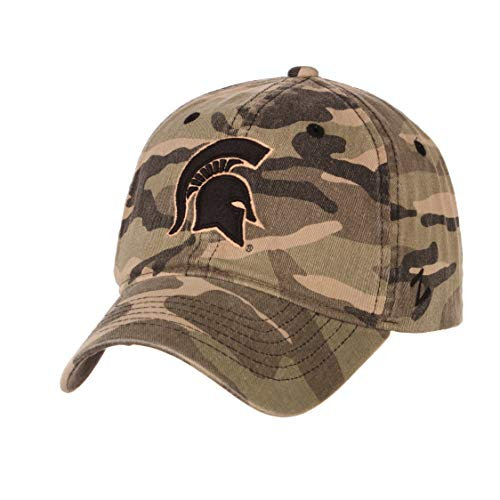 Michigan State University MSU Spartans Camo Top Hunting Washed Unstructured Maverick Adult Mens/Boys Adjustable Baseball Hat/Cap (Michigan Camo Hat)
