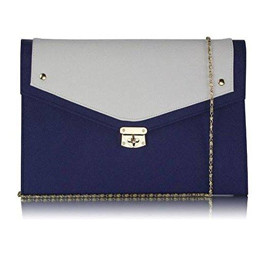 Trendstar mujeres diseñador exterior grande embrague Bolso de mano para mujer, diseño de perfume Soir duro caso Bolsa de hombro Azul - Marine/Blanche