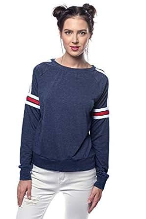 VS Fashions Navy Round Neck Hoodie & Sweatshirt For Women