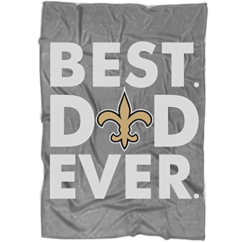 LEXIGSTORE New Orleans Saints Best Dad Ever Blanket for Bed and Couch, New Orleans Saints Logo Blankets - Perfect for Layering Any Bed (Medium Blanket (60