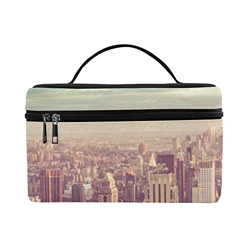 New York City Manhattan With Vintage Tone Pattern Lunch Box Tote Bag Lunch Holder Insulated Lunch Cooler Bag For Women/men/picnic/boating/beach/fishing/school/work