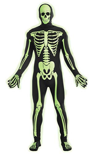 Forum Novelties Women's Teen Disappearing Man Patterned Stretch Body Suit Costume Glow-In-The-Dark Skeleton, Black/White, Small/Medium]()