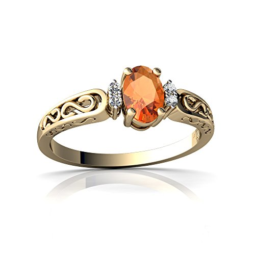 14kt Yellow Gold Fire Opal and Diamond 6x4mm Oval filligree Scroll Ring - Size 5.5