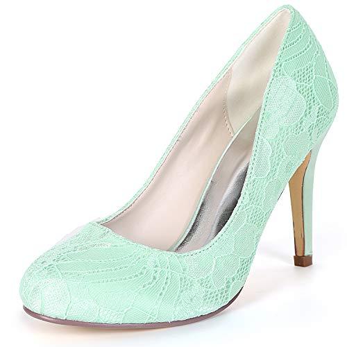 Bridal Toe Seide L Toe Runde 9cm Brautjungfer Hochzeit Schuhe FY562 YC Green Closed Frauen Chunky wZSx7