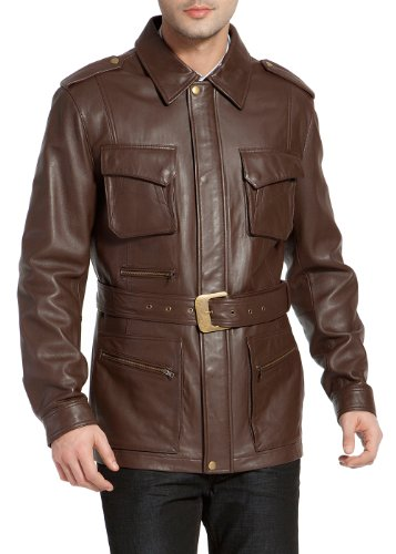Men Leather Trench - 1