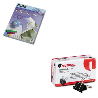 KITAPOCG7070UNV10200 - Value Kit - Apollo Color Laser Printer/Copier Transparency Film (APOCG7070) and Universal Small Binder Clips (UNV10200)