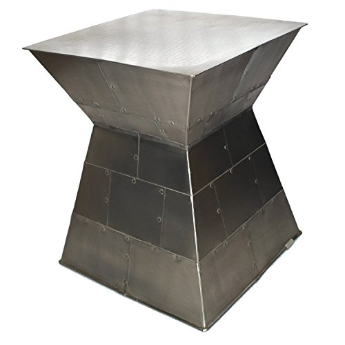 - Silvered metal accent table CAPE with square top. Bands of metal welded together in unique fashion. Coated Finish. Lightweight and sturdy with 19