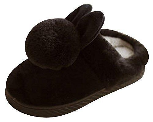 Niños Por Casa Lindo Niñas De Unisex Invierno Negro Estar Peluche Y Zapatillas Suave Pantuflas AwvwHdBxq