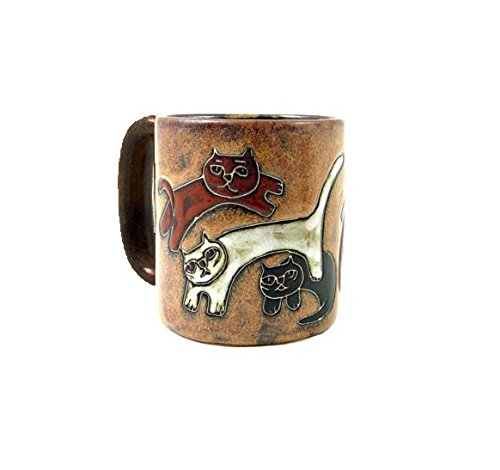 One (1) MARA STONEWARE COLLECTION - 16 Oz Coffee Or Tea Cup Collectible Dinner Mug - Kitten Kitty Cat Design - Kitty Cat Pottery
