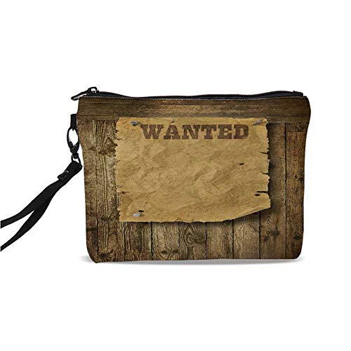 Western Simple Cosmetic Bag,Old Wooden Texture Background with Vintage Wanted Poster Sign Wild West Print Decorative for Women,9