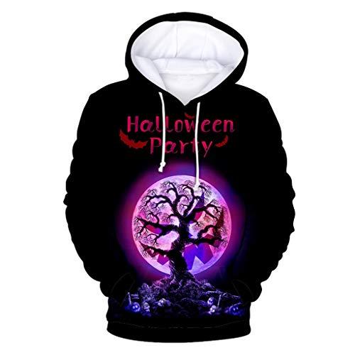 Xinantime Men and Women 3D Print Party Top Halloween Blouse Long Sleeve Hooded Sweatshirt Tops Black