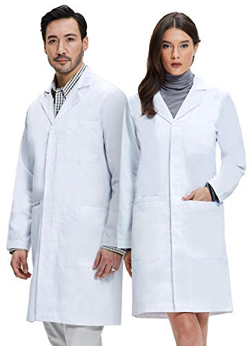 Dr. James Unisex Lab Coat, Classic Fit, 100% Cotton, 39 Inch Length M White -