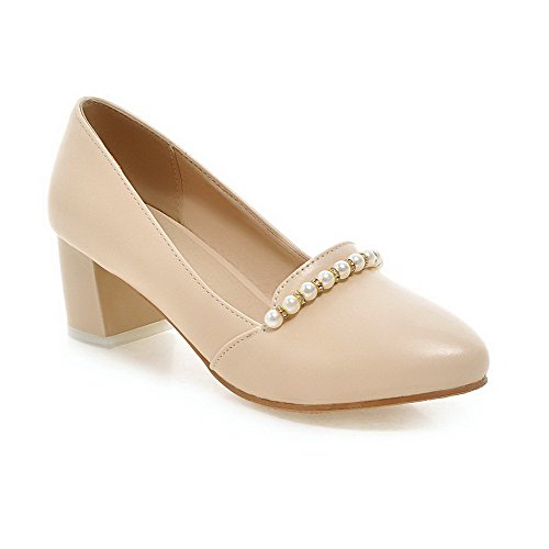 WeiPoot Material Round Pumps On Pull Heels Soft Shoes Solid Women's apricot Toe Closed Kitten rw8Iq6r