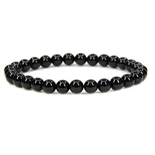 Natural A Grade Black Tourmaline Gemstone 6mm Round Beads Stretch Bracelet 7