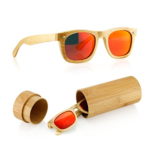 GEARONIC TM Polarized Wood Wooden Mens Womens Bamboo Vintage Sunglasses Eyewear with Bamboo box - Red