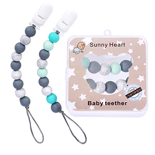 SunnyHeart Pacifier Clips Silicone Teething Beads BPA Free Binky Holder for Girls, Boys, Baby Shower Gift, Teether Toys, Soothie, Mam, Drool Bibs, Set of 2 (Green+Gray)