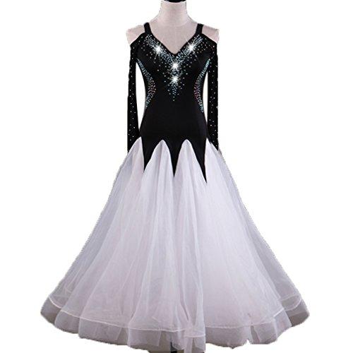 Da m Abiti Donne Sala White Tango V Competizione Standard Ballo Danza Gonna Strass Valzer Costumi Moderna Danzanti collo Di Xl Per Espansione Wqwlf qXxA0BA