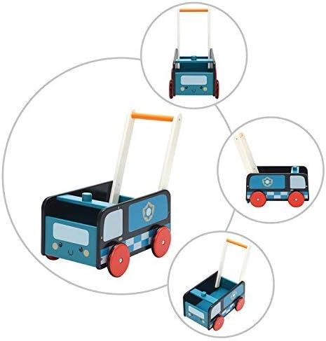 Uso 2 en 1 como Carruaje Labeb Andador de Madera Labebe Cochecito de Polic/ía Azul Coche para 1-3 A/ños Caminar Andador//Andador de Madera//Madera de Andador//Caminar Sin Beb/é Andador