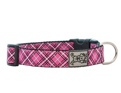 RC Pet Products 1-Inch Adjustable Dog Collar, Medium, Pink Tartan ()