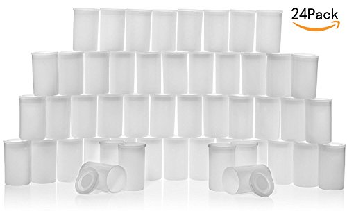 CTKcom 35MM Film Canisters(24 pack)- Tight Sealing Lids on All Canisters for Travel or Small Storage and Geocaching, 24 pack(Clear)