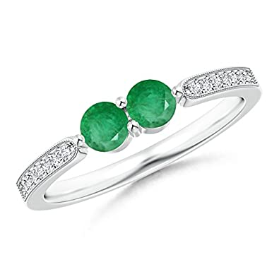 Angara Vintage Inspired Two Stone Emerald Ring with Diamond Accents tEUXjSjt