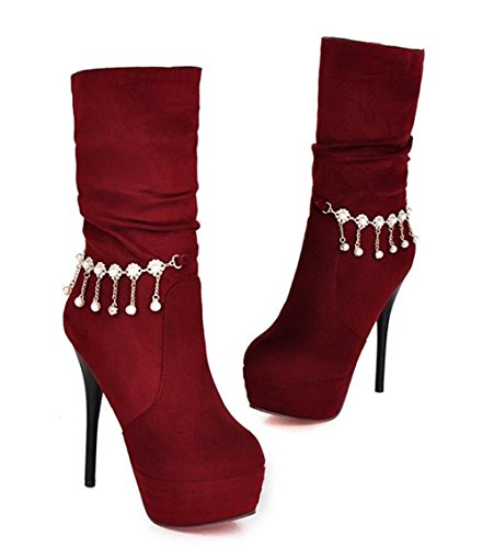 la Tobillo Zapatos Manera de de Plataforma de la Tacones la los Las Personalidad de Mujeres Red Elegante del Martin de Temperamento de Bomba HETAO abotona Zapatos wx6YXSpq