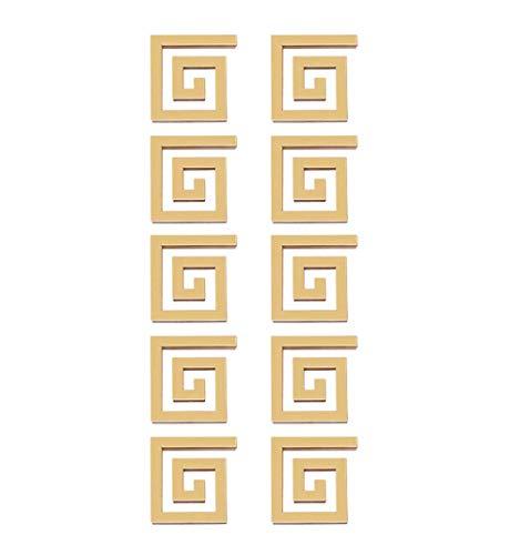 HaavPoois 10 Piezas DIY Acrilico Espejo Techo Fronteras Etiqueta de la Pared Laberinto Calcomania Decoracion para Dormitorio Oficina - Dorado