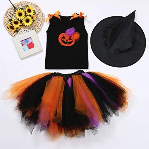 Halloween Skirt Set for Kids Girl, 3PCS Baby Girl Pumpkin Print Asymmetrical Dress+ Tops+ Hat Clothes Set (160, Orange) by Xchenda (Image #2)