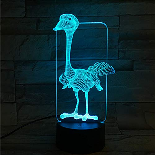 Led8N 3D LED Optical Illusion Lamps Night Light,7 Colour Changing LED Bedside Lamps for Kids with Acrylic Flat,ABS Plastic Base,USB Charger Ostrich