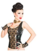 Bordelle-L'Amour Panel Latex Rubber Singlet. Black with Pearl Sheen Gold Trim.