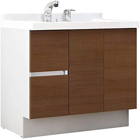 イナックス(INAX) 洗面化粧台 J1プラスシリーズ 幅90cm 片引出タイプ シングルレバーシャワー水栓 J1HT905SYLM2H 一般地用 クリエモカ(LM2H)