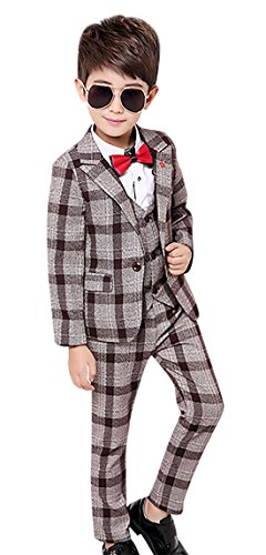 Lined Plaid Suit (Luobobeibei Formal Tuxedo Set Toddlers Plaid Suit Set For Weddding School Shows Party Jacket Waistcoat Pants 3 Pcs Brown 9 10 11Y)