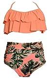 Ebuddy Fashion High Waist Women's Bikini Swimsuit Swimwear,Orange-XL