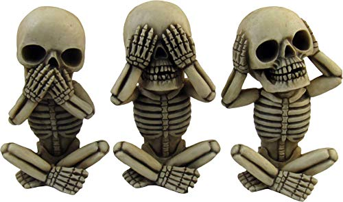 Land Of Nod Halloween (DWK 4-inch Morbid Morals See Hear Speak No Evil Mini Skeleton Figurines Macabre for Halloween Gothic Home Decor (Set of)