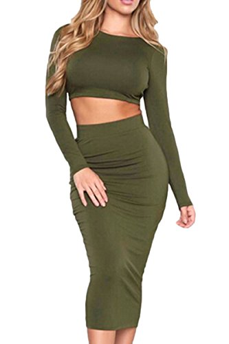 Army Of Two Outfit (Sunfury Woman's Backless Crop Top Skirt Party Wear Two Piece Outfit Dress Army Green M)