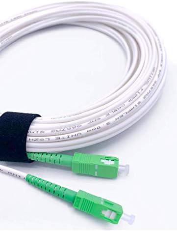 Elfcam Fibra óptica Cable SC/APC a SC/APC monomodo simplex 9/125µm LSZH, Blanco/Verde (5M)