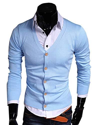 Élégant Manches Longues Vêtement Printemps Vêtements Couche V En Casual Clair Manteau Jeune Hommes Bleu Solide Couleurs Tricoté Automne Col w6zBTO
