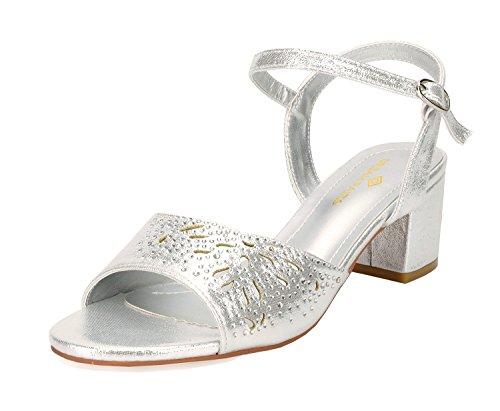 DREAM PAIRS Women's Mona_10 Silver Fashion Block Heeled Sandals Size 9 B(M) (Prom Platform Sandals)