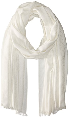 Calvin Klein Women's Solid Chambray Scarf, Eggshell, One Size