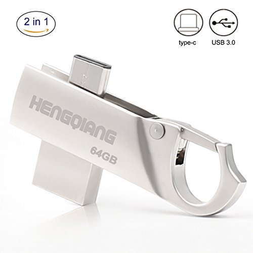 HengQiang 64G Dual USB Flash Drive with Type-C 3.1 + USB 3.0 Rotational Mini Metal Memory Expansion Stick for Macbook Pro or Andorid Phone(Metal Silver)