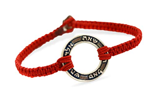 (Handmade 72 Names of God Silver Plated Circle Charm on Red Durable Bracelet for Men)