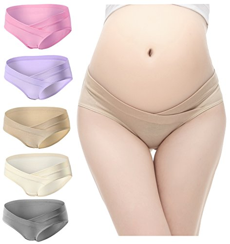 PIDAY Women's Under the Bump Cotton Maternity Hipsters Panties Multi Pack (Label XL / US M, 5pack beige/champagne/pink/purple/grey)