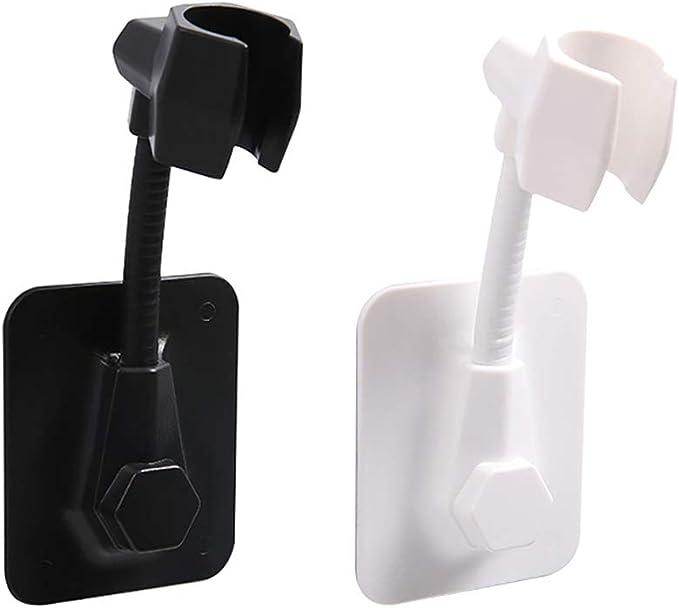 FETU 360/° Adjustable Rotatable Bathroom Shower Head Holder Adjustable Wall Mount No Drilling Bracket for Bathroom Home Black Adjustable Rotatable Shower Heads Wall Mount No-Punching