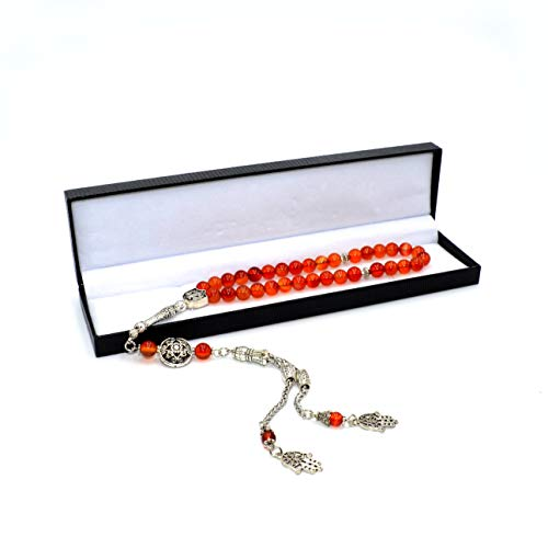 Stylist Black Onyx Prayer Beads (8 mm-33 Beads) Tesbih-Tasbih-Tasbeeh-Misbaha-Masbaha-Subha-Sebha-Sibha-Rosary-Worry Beads (Red Agate Stone)