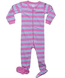 Striped Footed 100% Cotton (18-24 Months, Purple & Denim)
