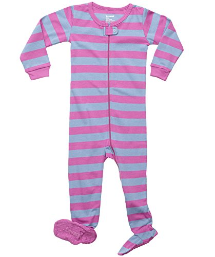 Striped Footed 100% Cotton (12-18 Months, Purple & Denim)