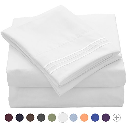 VEEYOO Bed Sheet Sets White - Extra Soft 1800 Thread Count Microfiber Queen Sheets Pillowcase Sets - Wrinkle, Fade Resistant Hypoallergenic Luxury Hotel Breathable Bedding Sets Queen (Microfiber Polyester Sheet Set)