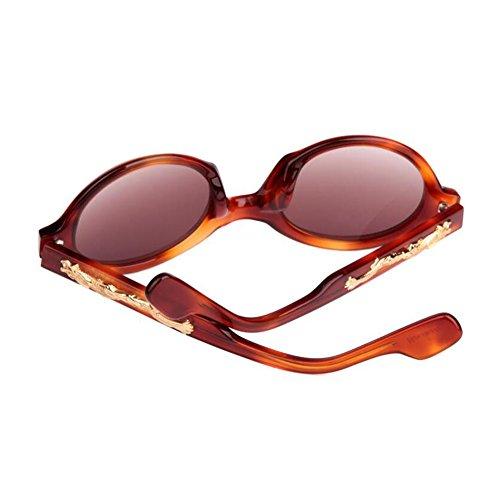 WYYY Hombres Redondo 100 Luz Polarizada Clásico Radiológica Color UV gafas de Sra Protección 2 Retro Marco sol 2 Protección S8w8rqFI